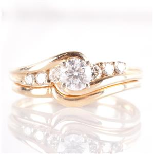 14k Yellow Gold Diamond Solitaire Engagement Wedding Ring Set W/ Accents .43ctw