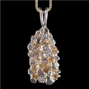 """14k Yellow Gold Nugget Style Solitaire Pendant W/ 24"""" Chain 10.3g"""