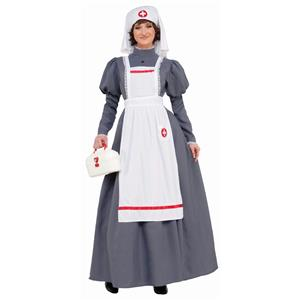 American Civil War Nurse Costume Womens Dress Red Cross Barton Nightingale 14-16
