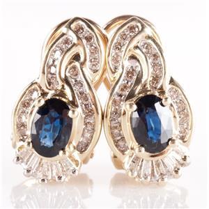 14k Yellow Gold Oval Cut Sapphire & Diamond Earrings W/ Omega Backs 1.68ctw