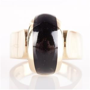 "Vintage 1980's ""Bernard K Passman"" 18k Yellow Gold Inlay Cut Black Coral Ring"