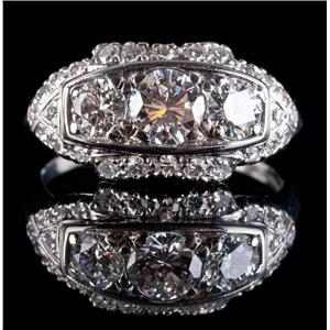 Vintage 1930's Platinum Round Cut Diamond Three Stone Engagement Ring 1.17ctw