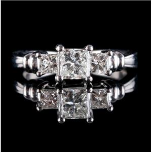 Platinum Princess Cut Three-Stone Diamond Engagement Ring .82ctw