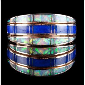 14k Yellow Gold Inlay Cut Opal & Lapis Lazuli Flipper / Convertible Ring 8.0g
