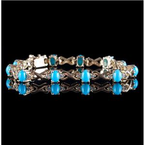 14k Yellow Gold Oval Cabochon Cut Turquoise & Diamond Tennis Bracelet 5.50ctw