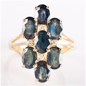 14k Yellow Gold Oval Cut Denim Sapphire & Diamond Cluster Cocktail Ring 4.94ctw