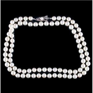 Vintage 1960's Mikimoto Sterling Silver Cultured Pearl Necklace W/ Vintage Box