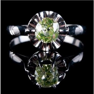 Vintage 1930s 14k White Gold Light Green Diamond Solitaire Engagement Ring .75ct