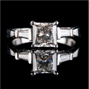 Platinum Princess Cut VVS2 Diamond Solitaire Engagement Ring W/ Accents 1.282ctw
