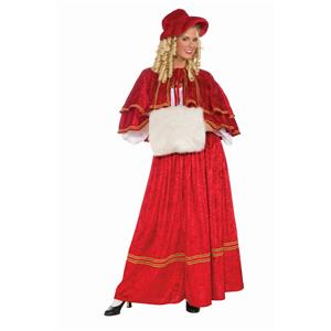 Christmas Caroler Old Fashion Mrs Santa Christmas Female Adult Costume