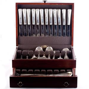Vintage Early 1900's Sterling Silver Hand Engraved 80 Piece Flatware Set