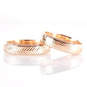 14k Yellow Gold Chevron Pattern Matching Bride & Groom Wedding Band Set 12.7g