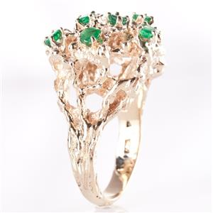 14k Yellow Gold Round Cut Emerald Branched Style Cocktail Ring .91ctw