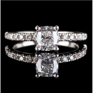 14k White Gold Cushion Cut Diamond Solitaire Engagement Ring W/ Accents 1.16ctw