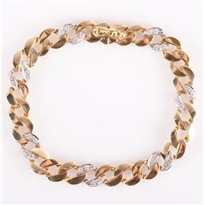 14k Yellow & White Gold Two-Tone Round Cut Diamond Figaro Bracelet .42ctw