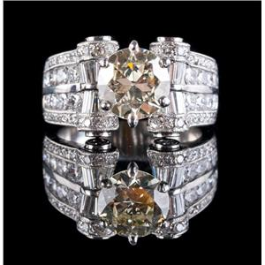 Stunning Platinum Round Cut Diamond Solitaire Engagement Ring W/ Accents 6.95ctw