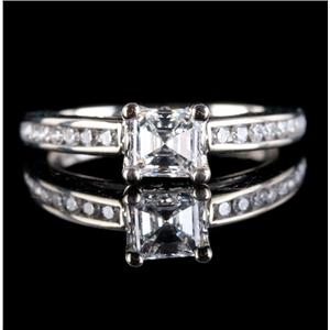 14k White Gold Diamond Solitaire Engagement Ring W/ Accents 1.53ctw
