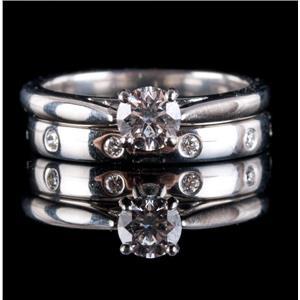 "Platinum ""IF"" Diamond Solitaire Engagement Eternity Band Set W/ GIA Cert .54ctw"