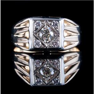 Men's Vintage 1940's 14k Yellow & White Gold Two-Tone Diamond Ring .53ctw