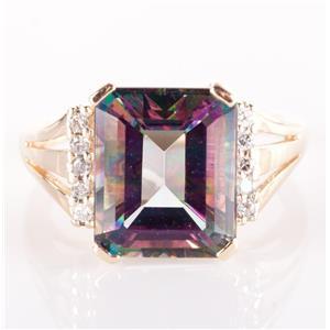 14k Yellow Gold Emerald Cut Mystic Topaz Solitaire Ring W/ Diamonds 7.95ctw