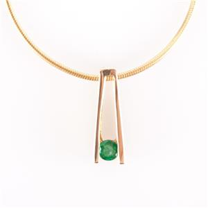 "14k Yellow Gold Round Cut Emerald Solitaire Pendant W/ 18"" Snake Chain .12ct"