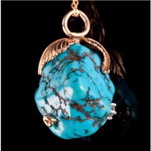 "14k Yellow Gold Rough Cut Turquoise & Diamond Pendant W/ 18"" Chain 22.36ctw"