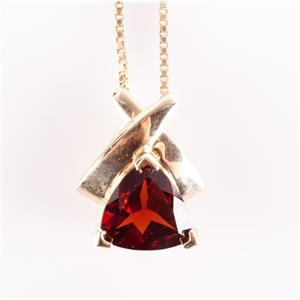 14k Yellow Gold Trillion Cut Mozambique Garnet Solitaire Pendant W/ Chain 1.45ct