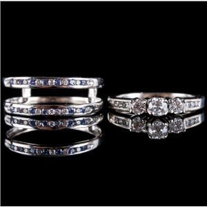 14k White Gold Round Cut Diamond & Tanzanite Engagement Wedding Ring Set .89ctw
