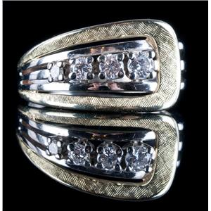 Vintage 1980's 14k Yellow & White Gold Two-Tone Round Cut Diamond Ring .285ctw