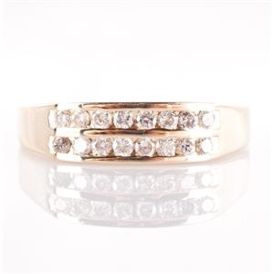 14k Yellow Gold Double Channel Set Diamond Wedding / Anniversary Band .32ctw