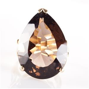 14k Yellow Gold Pear Cut Smoky Quartz Solitaire Cocktail Ring 24.0ct