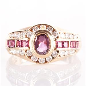 14k Yellow Gold Oval & Square Cut Ruby & Diamond Cocktail Ring 1.33ctw