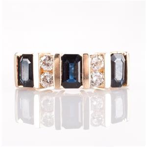 14k Yellow Gold Emerald Cut Sapphire & Round Cut Diamond Bar Style Ring 2.57ctw