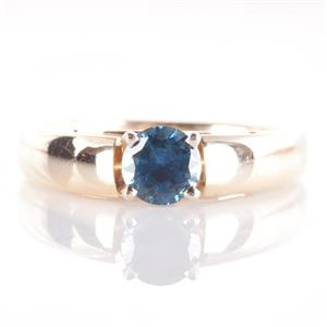 14k Yellow Gold Round Cut Sapphire Solitaire Engagement Ring .55ct