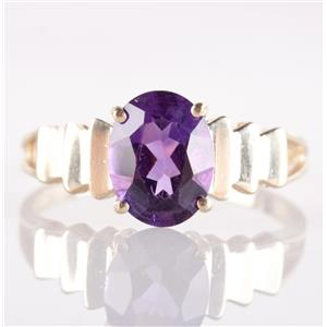10k Yellow Gold Oval Cut Amethyst Solitaire Step Style Ring 1.70ct