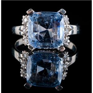 Vintage 1950s 18k White Gold Cushion Cut Sapphire & Diamond Cocktail Ring 4.32ct