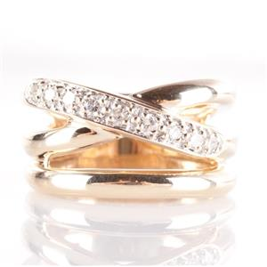 14k Yellow Gold Round Cut Diamond Wide Multi-Band Style Ring .27ctw