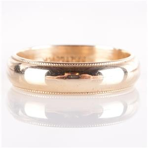 14k Yellow Gold Traditional Milgrain Style Wedding Band / Ring 4.58g Size 6.75