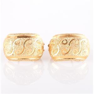 18k Yellow Gold Huggie Earrings W/ Swirl Design 3.8g