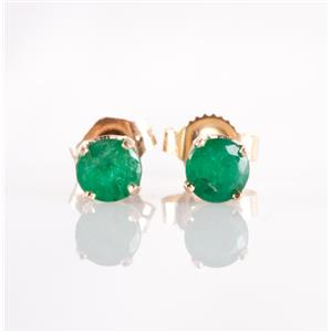 14k Yellow Gold Round Cut Natural Emerald Solitaire Stud Earrings .70ctw