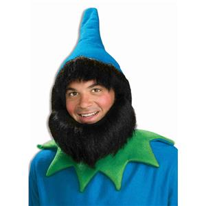 Blue Elf Gnome or Dwarf Hat with Attached Wig and Beard