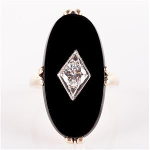 10k Yellow Gold Oval Cut Onyx & Round Cut Diamond Cocktail Ring 27.57ctw