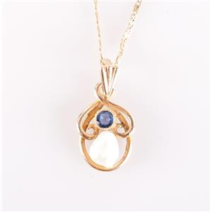 """Vintage 1910's 14k Yellow Gold Baroque Pearl & Sapphire Pendant W/ 18"""" Chain"""