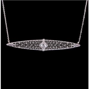 Vintage 1920's 14k White Gold Diamond Solitaire Filigree Bar Necklace .25ct