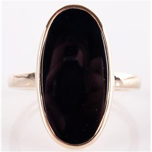 Vintage 1950's 14k Yellow Gold Oval Cut Onyx Solitaire Ring 5.34g Size 8.5