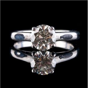 14k White Gold Round Brilliant Cut Diamond Solitaire Engagement Ring 1.07ct