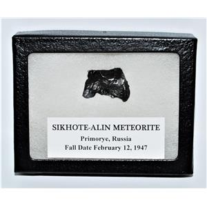 SIKHOTE-ALIN METEORITE 10.4 gm w/ Dipslay Box  & COA MDB #13561 12o