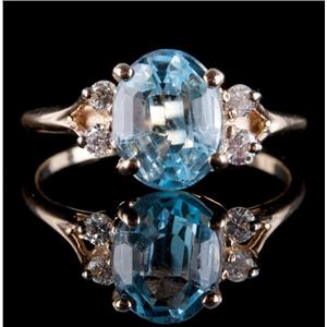 14k Yellow Gold Oval Cut Aquamarine Solitaire Ring W/ Diamond Accents 1.95ctw