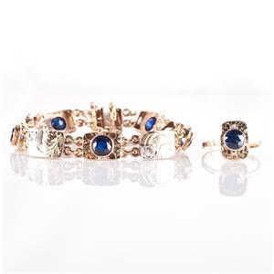 Vintage 1920's 14k Yellow & White Gold Lab Sapphire & Diamond Bracelet Ring Set