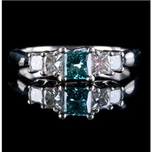 14k White Gold Princess Cut Blue Diamond & Diamond Engagement Ring 1.02ctw